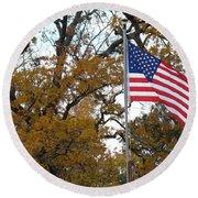 Fall In America Round Beach Towel
