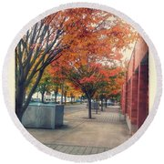 Fall In Downtown Vancouver Washington Round Beach Towel
