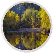 Autumn Reflections In Fort Mcmurray Round Beach Towel