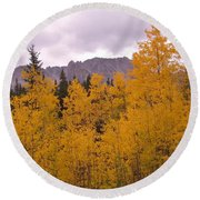 Fall In Maroon Bells Round Beach Towel
