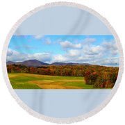 Fall In Rocky Mount Round Beach Towel