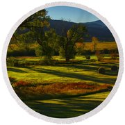 Fall In The Fields Round Beach Towel