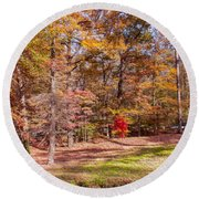 Fall In The Ozarks Round Beach Towel