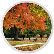 Fall In The Park Round Beach Towel by Christina Rollo