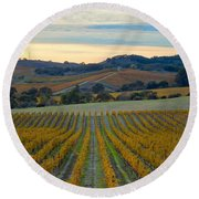 Fall In Wine Country Round Beach Towel