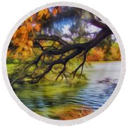 Fall Landscape 4 Round Beach Towel