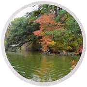 Fall Landscape Around The Lake 2 Round Beach Towel