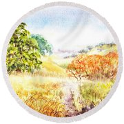Fall Landscape Briones Park California Round Beach Towel