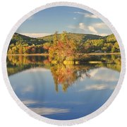 Fall Landscape On Flying Pond In Vienna Maine Round Beach Towel