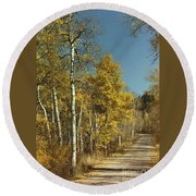 Fall Lane Round Beach Towel