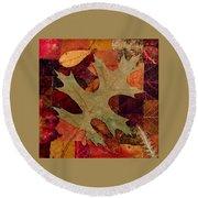 Fall Leaf Collage Round Beach Towel