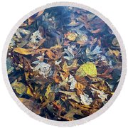 Fall Leaves In A Pond Round Beach Towel