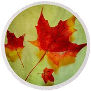Fall Leaves Round Beach Towel