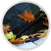 Fall Leaves On A Car Round Beach Towel