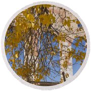 Fall Leaves On Open Windows Jerome Round Beach Towel