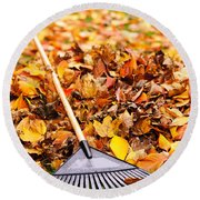 Fall Leaves With Rake Round Beach Towel