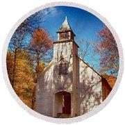 Fall Morning At Palmer Chapel In Cataloochee Round Beach Towel