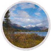 Fall Mountain Landscape Of Lapie Lake Yukon Canada Round Beach Towel