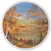 Fall Mountain Path Round Beach Towel