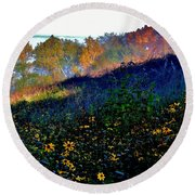Fall On Garvin Heights Round Beach Towel