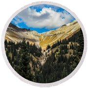 Fall On Red Mountain Pass Round Beach Towel