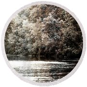Fall On The Current Round Beach Towel