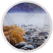 Fall On The Merced Round Beach Towel by Bill Gallagher