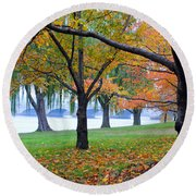 fall on the Potomac River Round Beach Towel