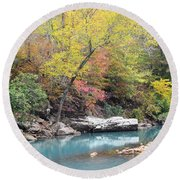 Fall On The River Round Beach Towel