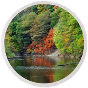 Fall Painting Round Beach Towel by Frozen in Time Fine Art Photography