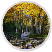Fall Pond In Mammoth Round Beach Towel