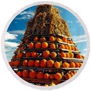 Fall Pumpkins Round Beach Towel