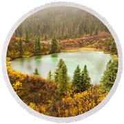 Fall Rain On Wilderness Lake Yukon T Canada Round Beach Towel
