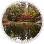 Fall Reflection And Colors Round Beach Towel