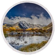 Fall Reflection Pond Round Beach Towel