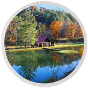 Fall Reflections At The Farm  Round Beach Towel