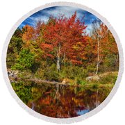 Fall Reflections In Maine Img 6312 Round Beach Towel