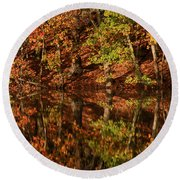 Fall Reflections Round Beach Towel by Karol Livote
