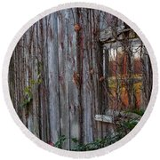 Fall Reflections On Weathered Glass Round Beach Towel