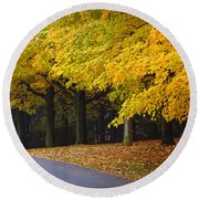 Fall Road And Trees Round Beach Towel