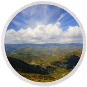 Fall Scene From North Fork Mountain Round Beach Towel
