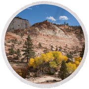 Fall Season At Zion National Park Round Beach Towel