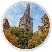 Fall Steeple Round Beach Towel