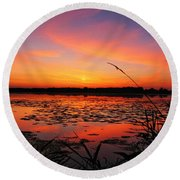 Fall Sunset In The Mead Wildlife Area Round Beach Towel
