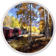 Fall Train Ride New Mexico Round Beach Towel