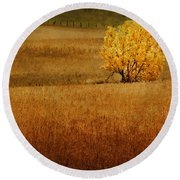 Fall Tree And Field #1 Round Beach Towel
