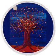 Fall Tree Fantasy By Jrr Round Beach Towel
