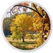 Fall Trees 4 Of Wnc Round Beach Towel