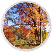 Fall Trees Round Beach Towel