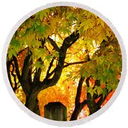 Fall Trees On A Country Road 3 Round Beach Towel